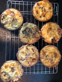Quiche Lorraine made in mini pie tins.